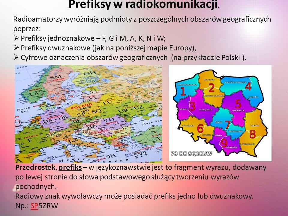 Radioamatorzy wyróżniają podmioty z poszczególnych obszarów geograficznych poprzez: Prefiksy jednoznakowe – F, G i M, A, K, N i W; Prefiksy dwuznakowe