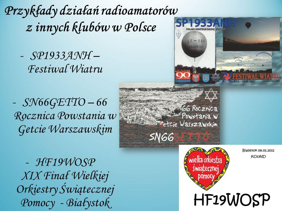 Przykłady działań radioamatorów z innych klubów w Polsce -SP1933ANH – Festiwal Wiatru -SN66GETTO – 66 Rocznica Powstania w Getcie Warszawskim -HF19WOS