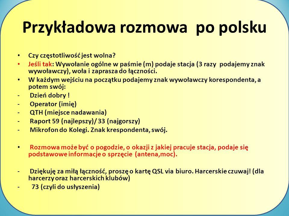 Przykładowa rozmowa po polsku Czy częstotliwość jest wolna? Jeśli tak: Wywołanie ogólne w paśmie (m) podaje stacja (3 razy podajemy znak wywoławczy),