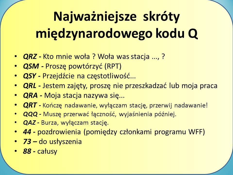Najważniejsze skróty międzynarodowego kodu Q QRZ - Kto mnie woła ? Woła was stacja..., ? QSM - Proszę powtórzyć (RPT) QSY - Przejdźcie na częstotliwoś