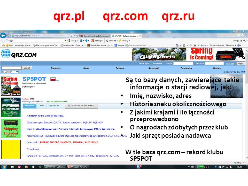 qrz.plqrz.com qrz.ru Są to bazy danych, zawierające takie informacje o stacji radiowej, jak: Imię, nazwisko, adres Historie znaku okolicznościowego Z