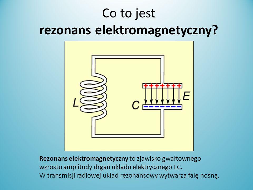 Co to jest rezonans elektromagnetyczny? Rezonans elektromagnetyczny to zjawisko gwałtownego wzrostu amplitudy drgań układu elektrycznego LC. W transmi