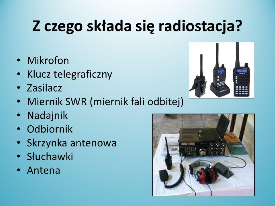 Z czego składa się radiostacja? Mikrofon Klucz telegraficzny Zasilacz Miernik SWR (miernik fali odbitej) Nadajnik Odbiornik Skrzynka antenowa Słuchawk