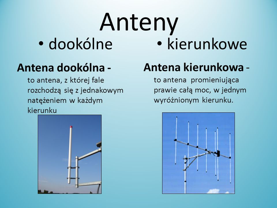 Anteny dookólne kierunkowe Antena dookólna - to antena, z której fale rozchodzą się z jednakowym natężeniem w każdym kierunku Antena kierunkowa - to a