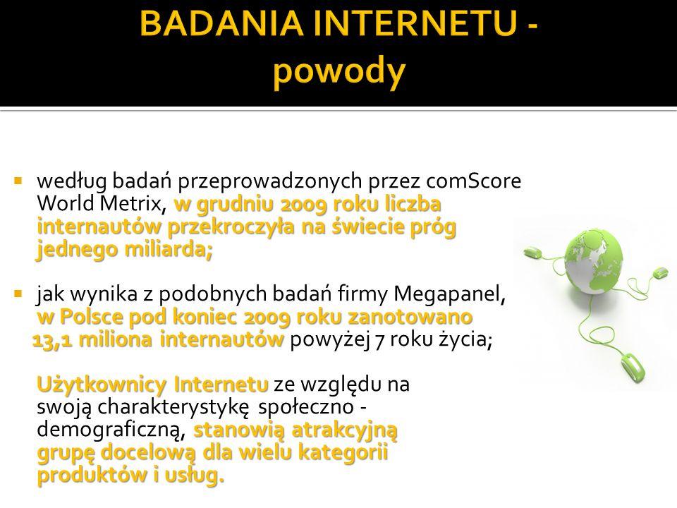 w grudniu 2009 roku liczba internautów przekroczyła na świecie próg jednego miliarda; według badań przeprowadzonych przez comScore World Metrix, w grudniu 2009 roku liczba internautów przekroczyła na świecie próg jednego miliarda; w Polsce pod koniec 2009 roku zanotowano jak wynika z podobnych badań firmy Megapanel, w Polsce pod koniec 2009 roku zanotowano 13,1 miliona internautów 13,1 miliona internautów powyżej 7 roku życia; Użytkownicy Internetu stanowią atrakcyjną grupę docelową dla wielu kategorii produktów i usług.
