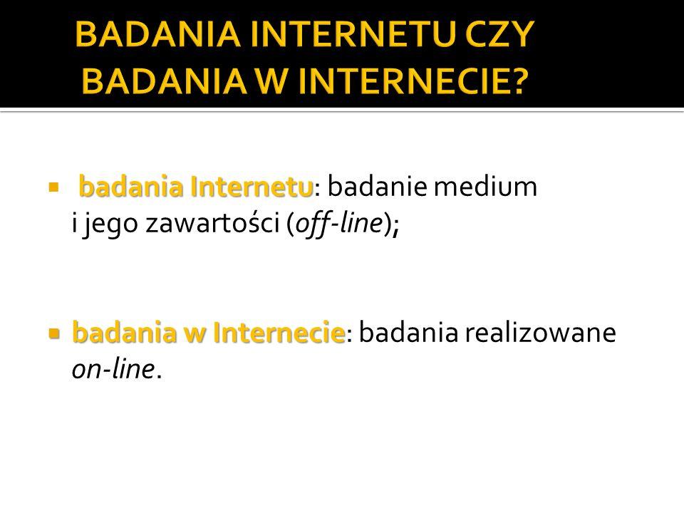 badania Internetu badania Internetu: badanie medium i jego zawartości (off-line); badania w Internecie badania w Internecie: badania realizowane on-line.