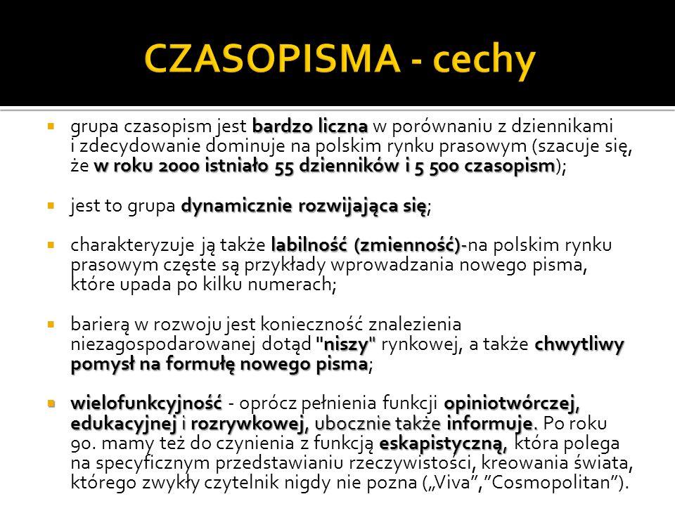 bardzo liczna w roku 2000 istniało 55 dzienników i 5 500 czasopism grupa czasopism jest bardzo liczna w porównaniu z dziennikami i zdecydowanie dominuje na polskim rynku prasowym (szacuje się, że w roku 2000 istniało 55 dzienników i 5 500 czasopism); dynamicznie rozwijająca się jest to grupa dynamicznie rozwijająca się; labilność (zmienność)- charakteryzuje ją także labilność (zmienność)-na polskim rynku prasowym częste są przykłady wprowadzania nowego pisma, które upada po kilku numerach; niszy chwytliwy pomysł na formułę nowego pisma barierą w rozwoju jest konieczność znalezienia niezagospodarowanej dotąd niszy rynkowej, a także chwytliwy pomysł na formułę nowego pisma; wielofunkcyjność opiniotwórczej, edukacyjnej i rozrywkowej, ubocznie także informuje.