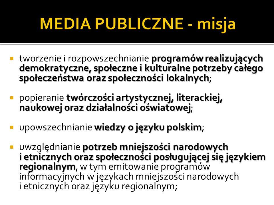 programów realizujących demokratyczne, społeczne i kulturalne potrzeby całego społeczeństwa oraz społeczności lokalnych tworzenie i rozpowszechnianie programów realizujących demokratyczne, społeczne i kulturalne potrzeby całego społeczeństwa oraz społeczności lokalnych; twórczości artystycznej, literackiej, naukowej oraz działalności oświatowej popieranie twórczości artystycznej, literackiej, naukowej oraz działalności oświatowej; wiedzy o języku polskim upowszechnianie wiedzy o języku polskim; potrzeb mniejszości narodowych i etnicznych oraz społeczności posługującej się językiem regionalnym uwzględnianie potrzeb mniejszości narodowych i etnicznych oraz społeczności posługującej się językiem regionalnym, w tym emitowanie programów informacyjnych w językach mniejszości narodowych i etnicznych oraz języku regionalnym;