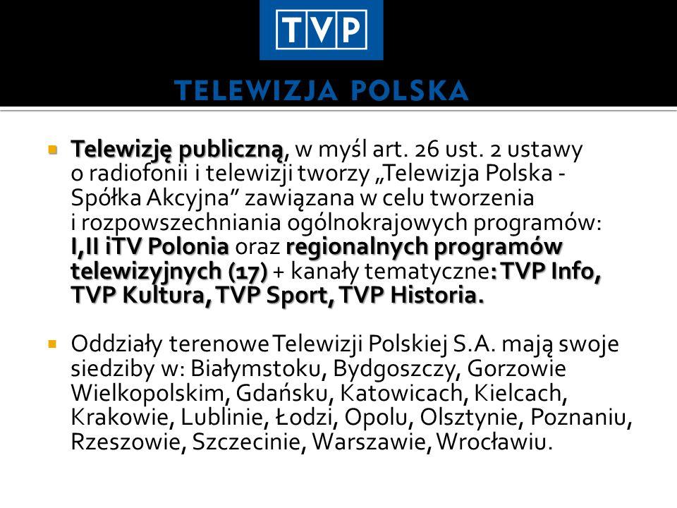 Telewizję publiczną I,II iTV Polonia regionalnych programów telewizyjnych (17): TVP Info, TVP Kultura, TVP Sport, TVP Historia.
