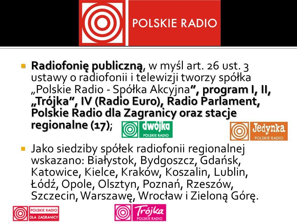 Radiofonię publiczną, program I, II, Trójka, IV (Radio Euro), Radio Parlament, Polskie Radio dla Zagranicy oraz stacje regionalne (17) Radiofonię publ