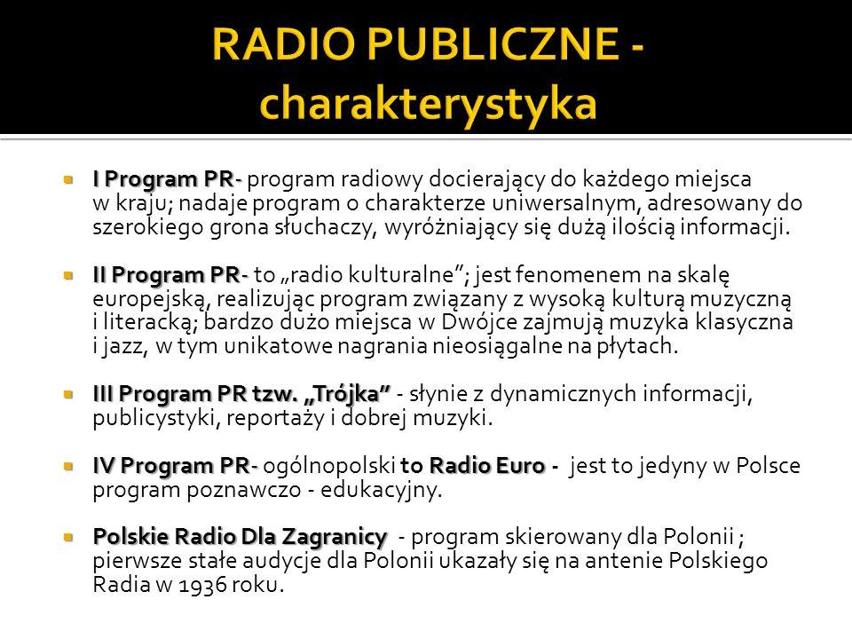 I Program PR- I Program PR- program radiowy docierający do każdego miejsca w kraju; nadaje program o charakterze uniwersalnym, adresowany do szerokiego grona słuchaczy, wyróżniający się dużą ilością informacji.