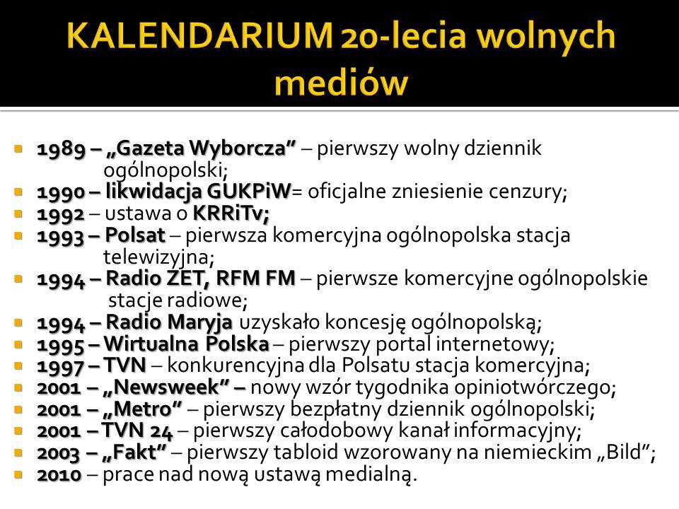 1989 – Gazeta Wyborcza 1989 – Gazeta Wyborcza – pierwszy wolny dziennik ogólnopolski; 1990 – likwidacja GUKPiW 1990 – likwidacja GUKPiW= oficjalne zniesienie cenzury; 1992 KRRiTv; 1992 – ustawa o KRRiTv; 1993 – Polsat 1993 – Polsat – pierwsza komercyjna ogólnopolska stacja telewizyjna; 1994 – Radio ZET, RFM FM 1994 – Radio ZET, RFM FM – pierwsze komercyjne ogólnopolskie stacje radiowe; 1994 – Radio Maryja 1994 – Radio Maryja uzyskało koncesję ogólnopolską; 1995 – Wirtualna Polska 1995 – Wirtualna Polska – pierwszy portal internetowy; 1997 – TVN 1997 – TVN – konkurencyjna dla Polsatu stacja komercyjna; 2001 – Newsweek – 2001 – Newsweek – nowy wzór tygodnika opiniotwórczego; 2001 – Metro 2001 – Metro – pierwszy bezpłatny dziennik ogólnopolski; 2001 – TVN 24 2001 – TVN 24 – pierwszy całodobowy kanał informacyjny; 2003 – Fakt 2003 – Fakt – pierwszy tabloid wzorowany na niemieckim Bild; 2010 2010 – prace nad nową ustawą medialną.