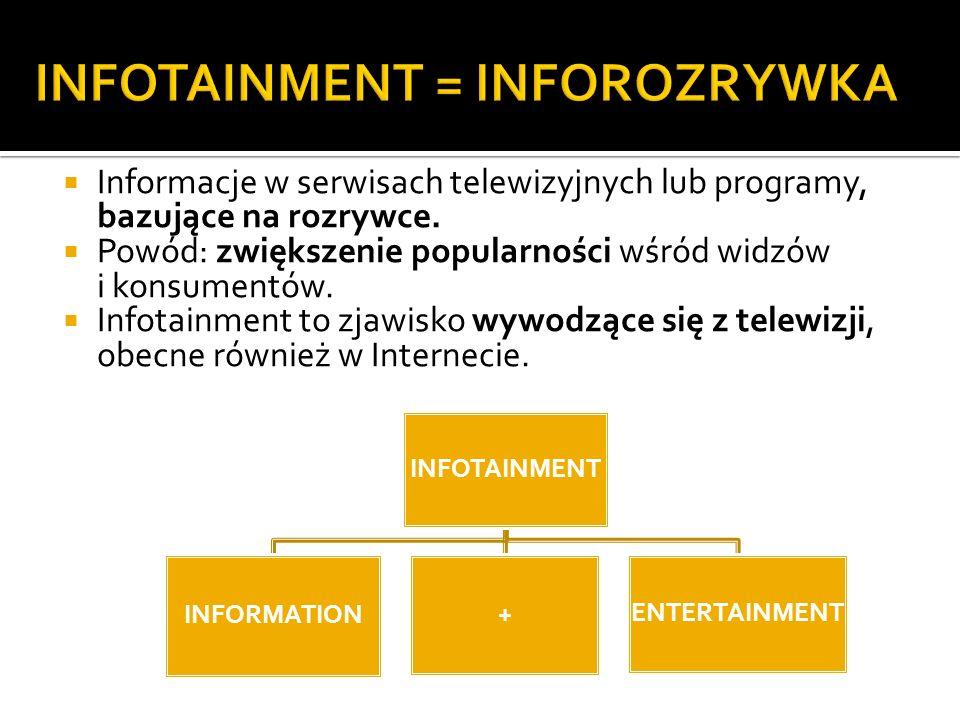 Informacje w serwisach telewizyjnych lub programy, bazujące na rozrywce. Powód: zwiększenie popularności wśród widzów i konsumentów. Infotainment to z