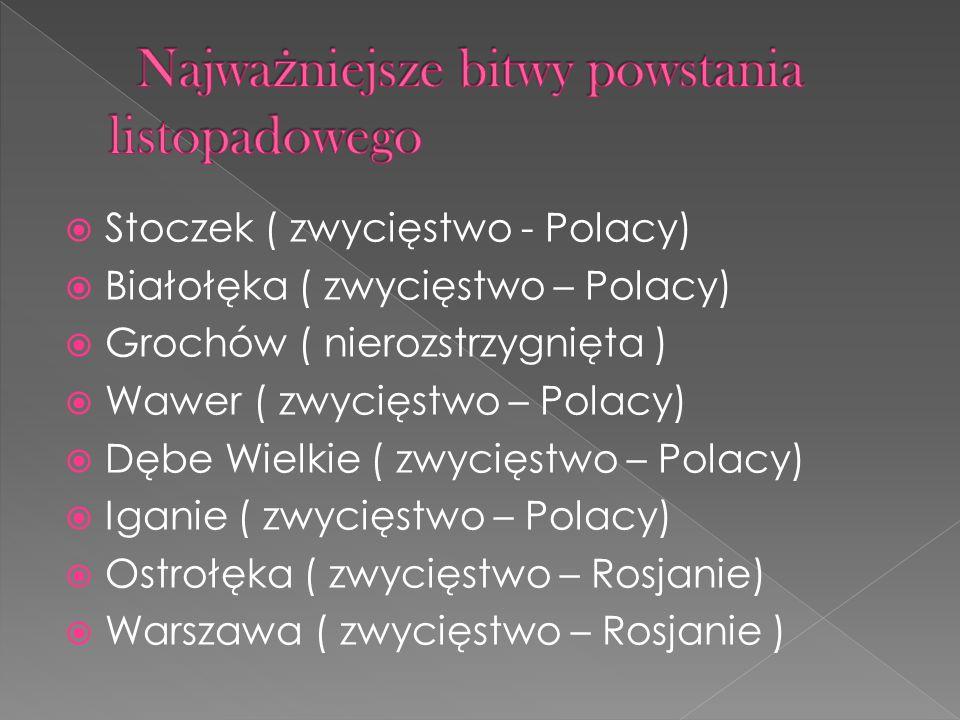Stoczek ( zwycięstwo - Polacy) Białołęka ( zwycięstwo – Polacy) Grochów ( nierozstrzygnięta ) Wawer ( zwycięstwo – Polacy) Dębe Wielkie ( zwycięstwo –