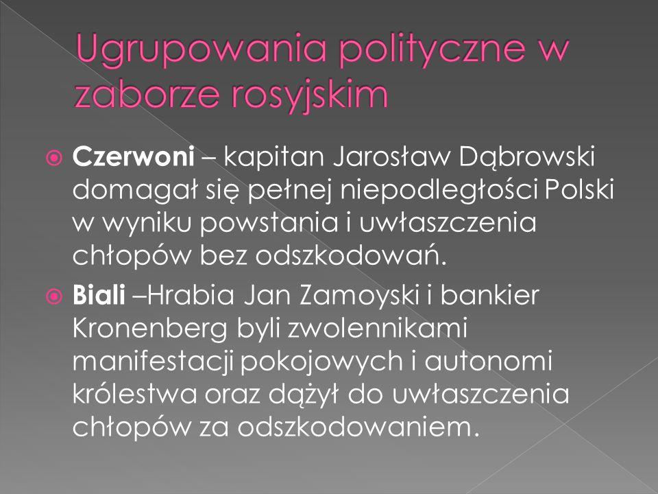 Czerwoni – kapitan Jarosław Dąbrowski domagał się pełnej niepodległości Polski w wyniku powstania i uwłaszczenia chłopów bez odszkodowań. Biali –Hrabi