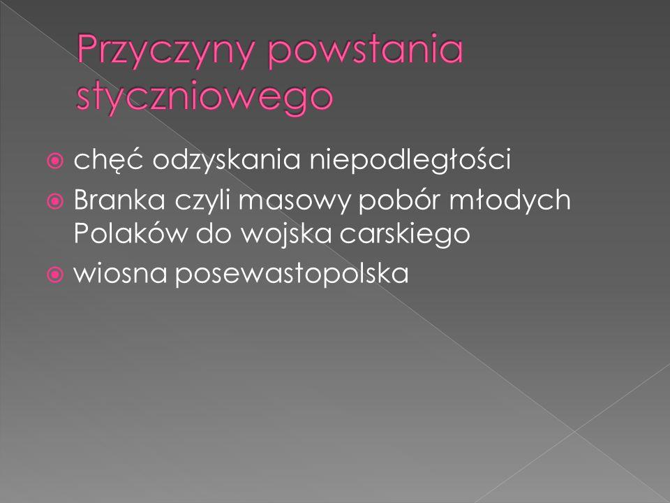 chęć odzyskania niepodległości Branka czyli masowy pobór młodych Polaków do wojska carskiego wiosna posewastopolska