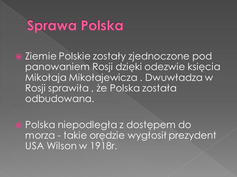 Ziemie Polskie zostały zjednoczone pod panowaniem Rosji dzięki odezwie księcia Mikołaja Mikołajewicza. Dwuwładza w Rosji sprawiła, że Polska została o