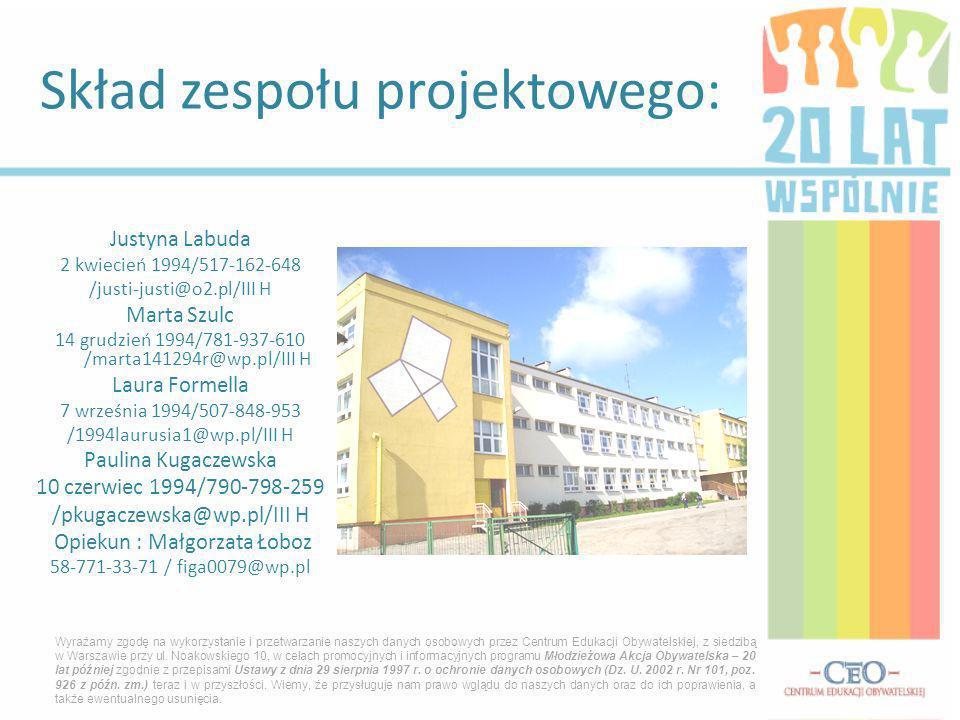 Skład zespołu projektowego: Wyrażamy zgodę na wykorzystanie i przetwarzanie naszych danych osobowych przez Centrum Edukacji Obywatelskiej, z siedzibą w Warszawie przy ul.