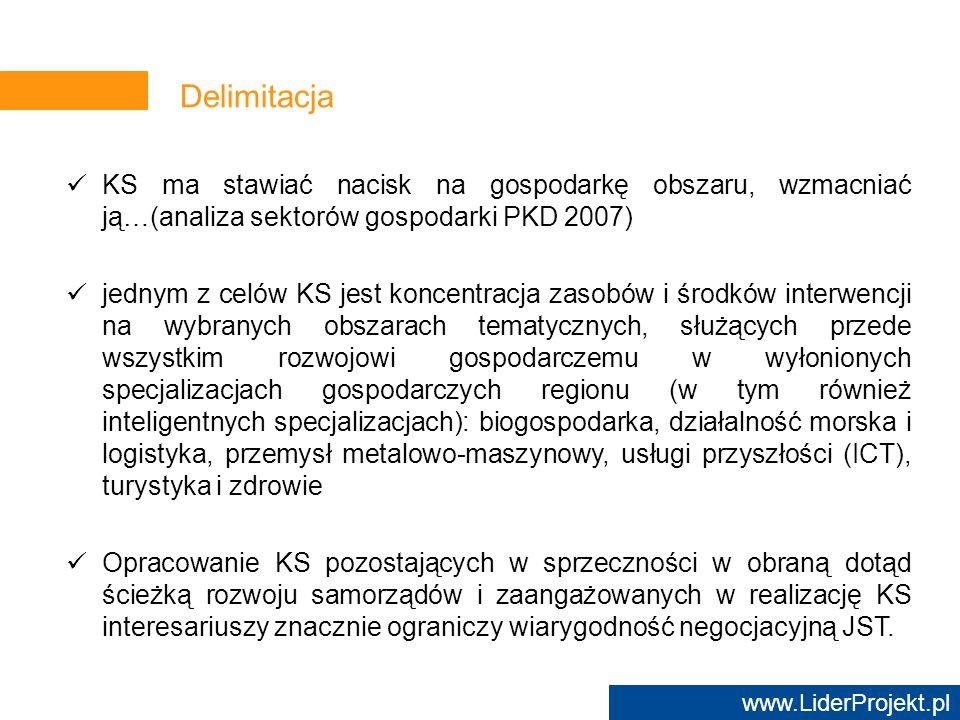 www.LiderProjekt.pl KS ma stawiać nacisk na gospodarkę obszaru, wzmacniać ją…(analiza sektorów gospodarki PKD 2007) jednym z celów KS jest koncentracj