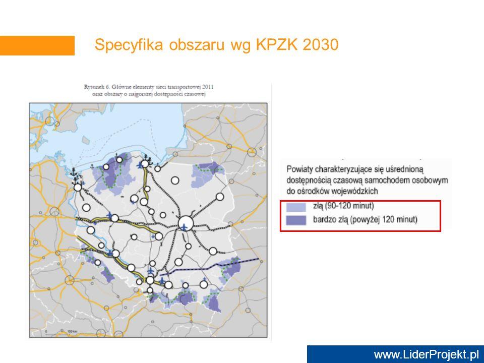 www.LiderProjekt.pl Specyfika obszaru wg KPZK 2030