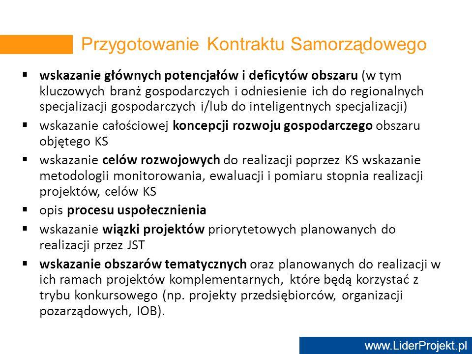 www.LiderProjekt.pl wskazanie głównych potencjałów i deficytów obszaru (w tym kluczowych branż gospodarczych i odniesienie ich do regionalnych specjal