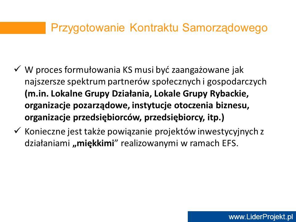 www.LiderProjekt.pl W proces formułowania KS musi być zaangażowane jak najszersze spektrum partnerów społecznych i gospodarczych (m.in. Lokalne Grupy