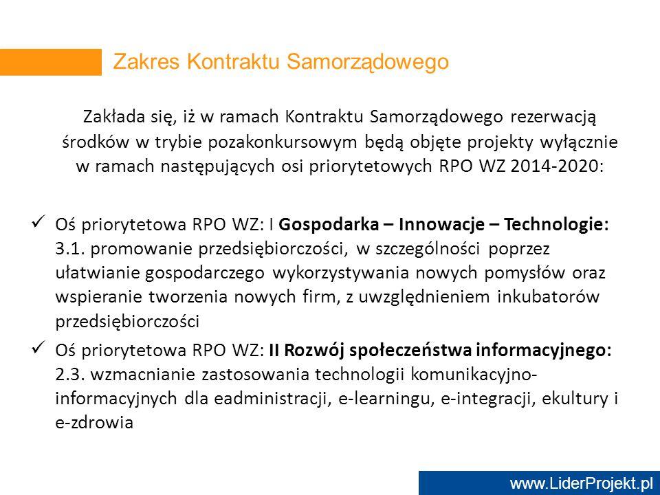 www.LiderProjekt.pl Zakłada się, iż w ramach Kontraktu Samorządowego rezerwacją środków w trybie pozakonkursowym będą objęte projekty wyłącznie w rama