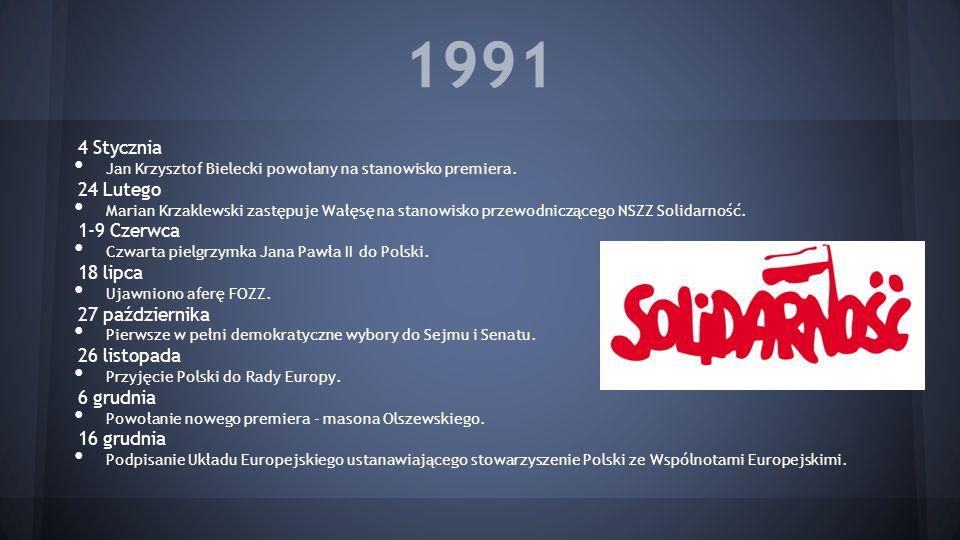 1991 4 Stycznia Jan Krzysztof Bielecki powołany na stanowisko premiera. 24 Lutego Marian Krzaklewski zastępuje Wałęsę na stanowisko przewodniczącego N