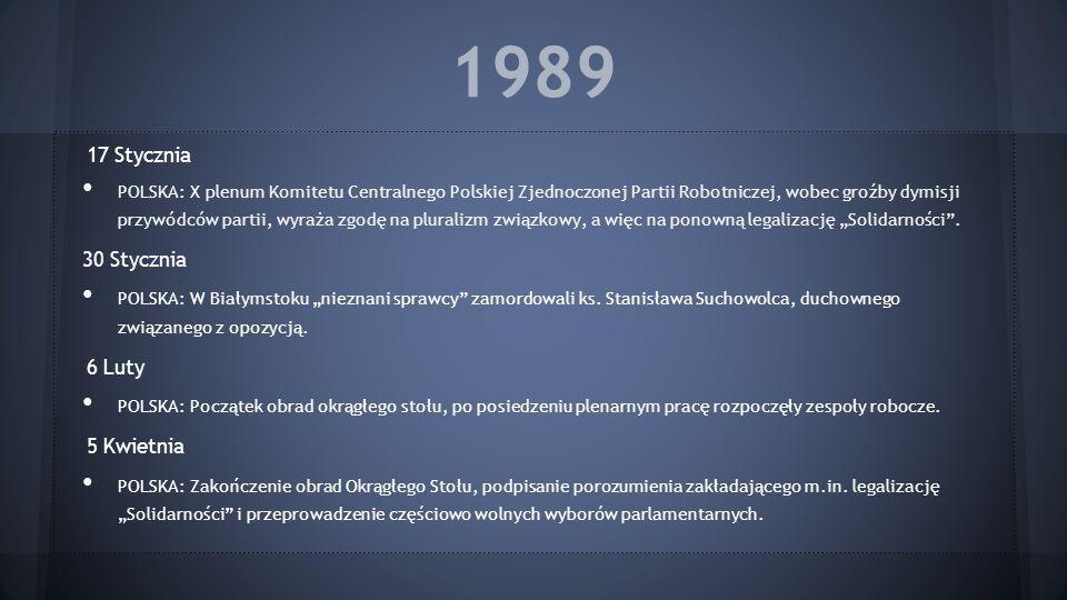 1989 17 Stycznia POLSKA: X plenum Komitetu Centralnego Polskiej Zjednoczonej Partii Robotniczej, wobec groźby dymisji przywódców partii, wyraża zgodę