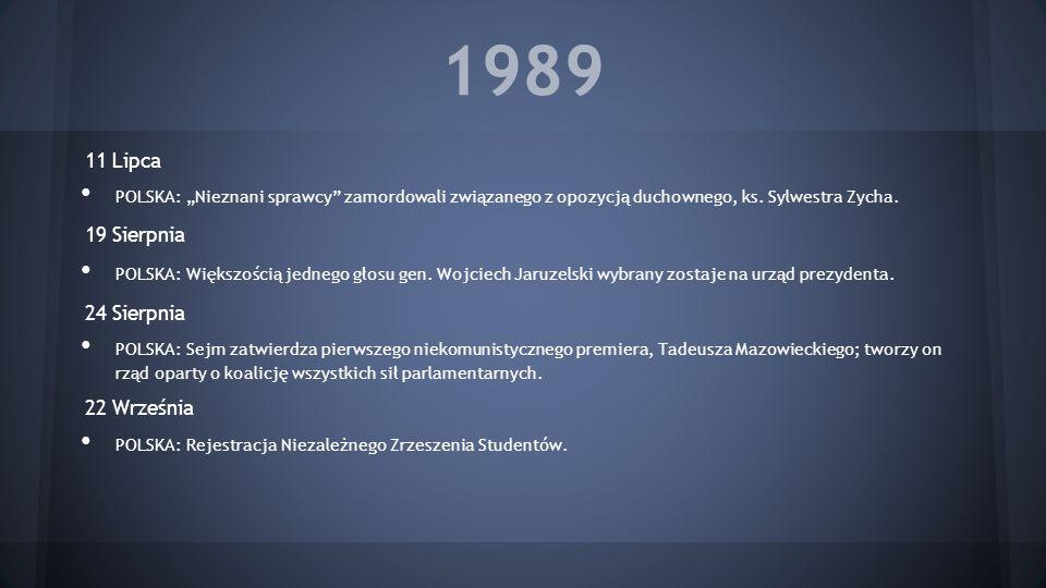 1989 11 Lipca POLSKA: Nieznani sprawcy zamordowali związanego z opozycją duchownego, ks. Sylwestra Zycha. 19 Sierpnia POLSKA: Większością jednego głos