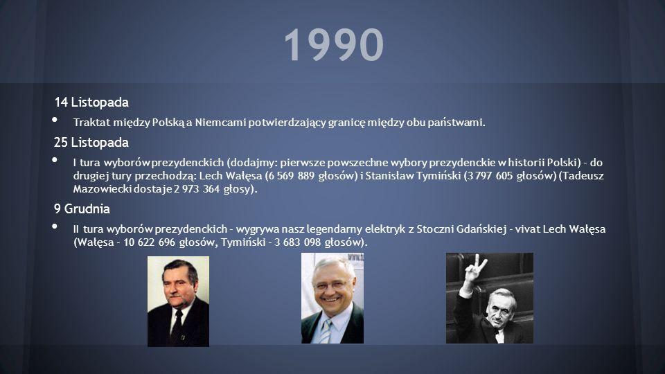 1990 14 Listopada Traktat między Polską a Niemcami potwierdzający granicę między obu państwami. 25 Listopada I tura wyborów prezydenckich (dodajmy: pi