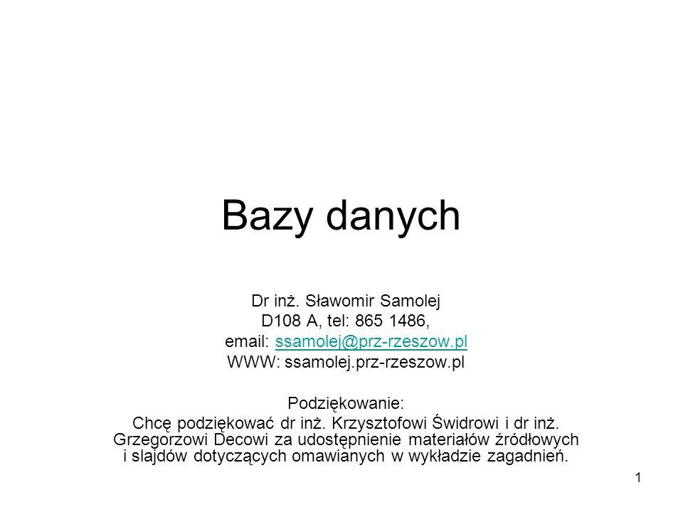 1 Bazy danych Dr inż. Sławomir Samolej D108 A, tel: 865 1486, email: ssamolej@prz-rzeszow.plssamolej@prz-rzeszow.pl WWW: ssamolej.prz-rzeszow.pl Podzi