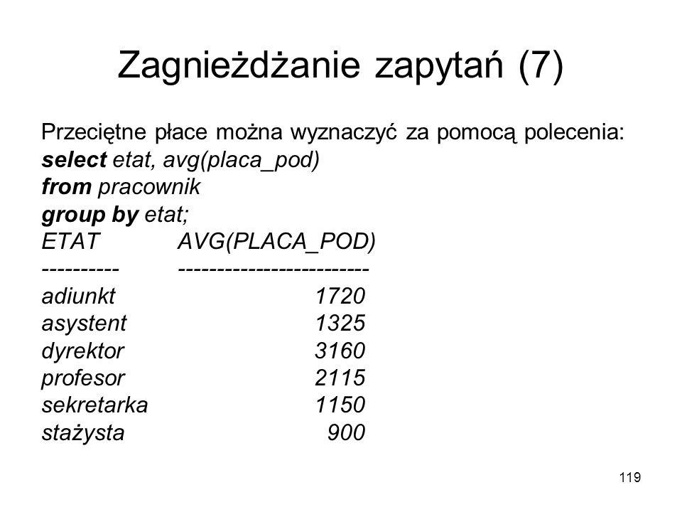 119 Zagnieżdżanie zapytań (7) Przeciętne płace można wyznaczyć za pomocą polecenia: select etat, avg(placa_pod) from pracownik group by etat; ETAT AVG