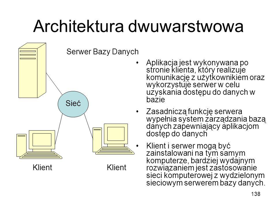 138 Architektura dwuwarstwowa Sieć Serwer Bazy Danych Klient Aplikacja jest wykonywana po stronie klienta, który realizuje komunikację z użytkownikiem