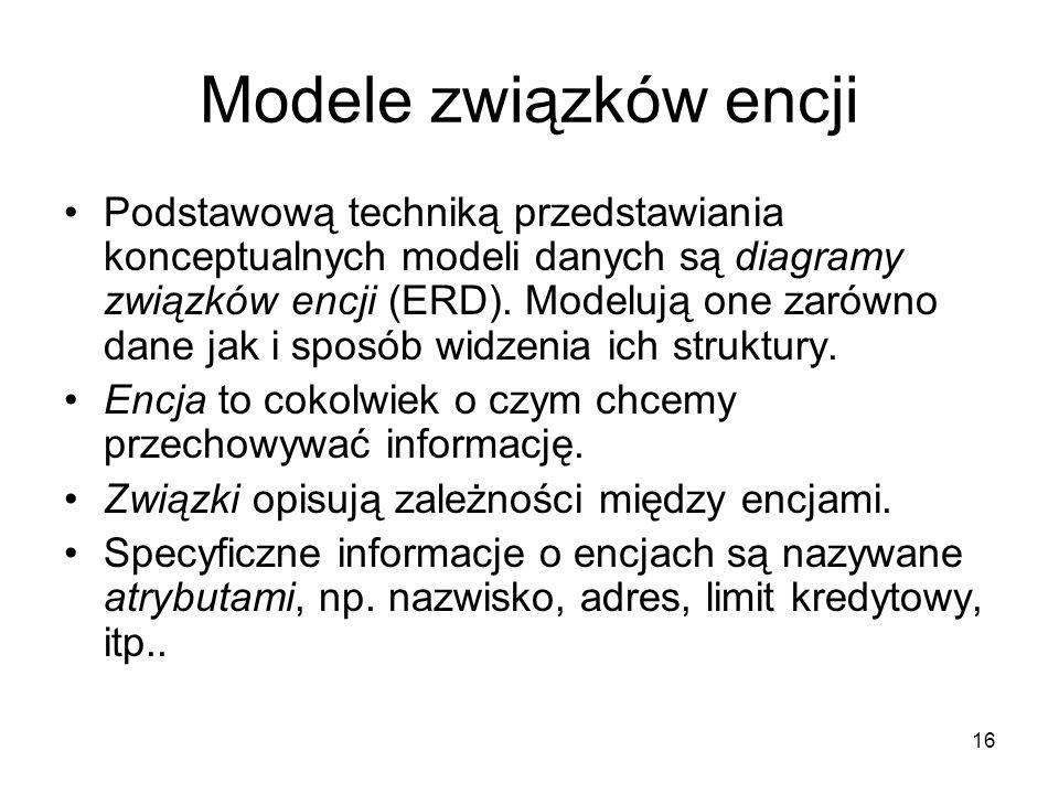 16 Modele związków encji Podstawową techniką przedstawiania konceptualnych modeli danych są diagramy związków encji (ERD). Modelują one zarówno dane j