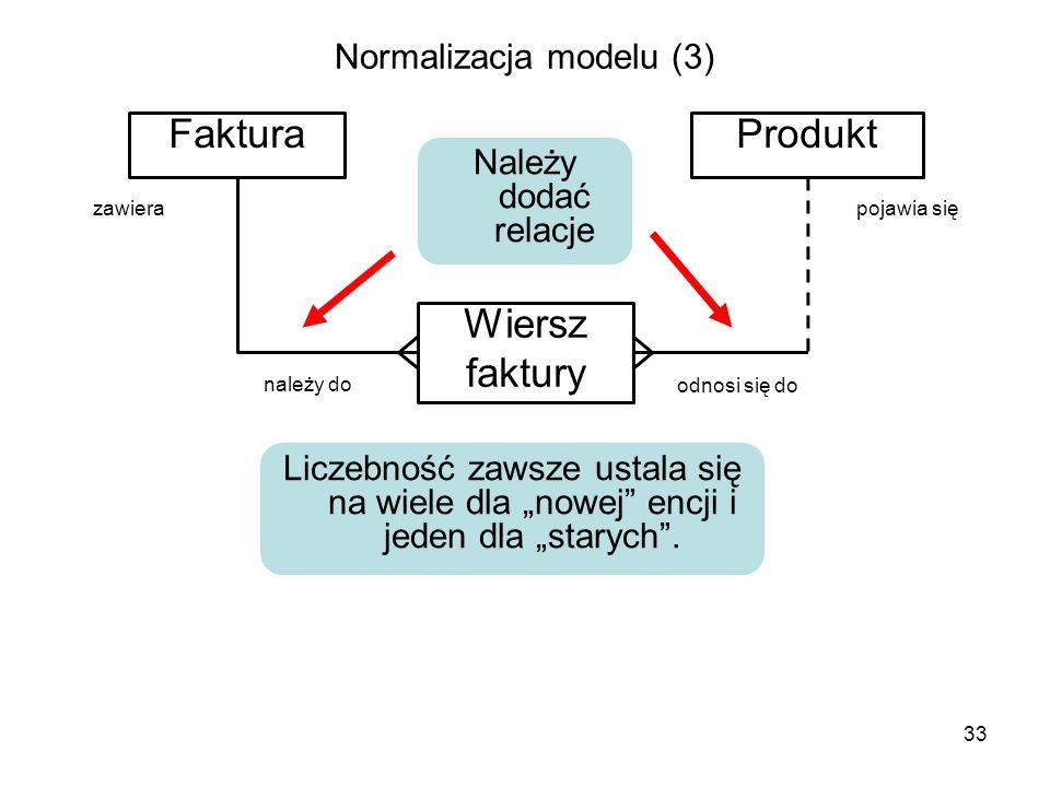 Normalizacja modelu (3) FakturaProdukt Wiersz faktury 33 Należy dodać relacje Liczebność zawsze ustala się na wiele dla nowej encji i jeden dla staryc