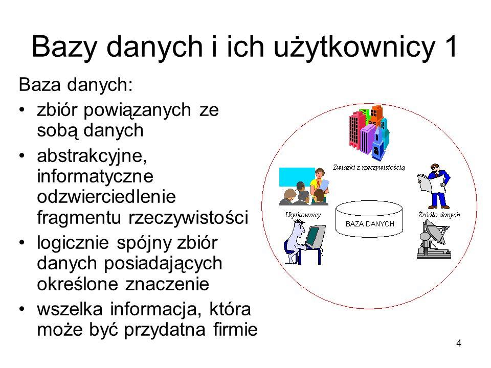 15 Języki projektowania baz danych Język definiowania danych (DDL) - definiowanie struktury danych przechowywanych w bazie.