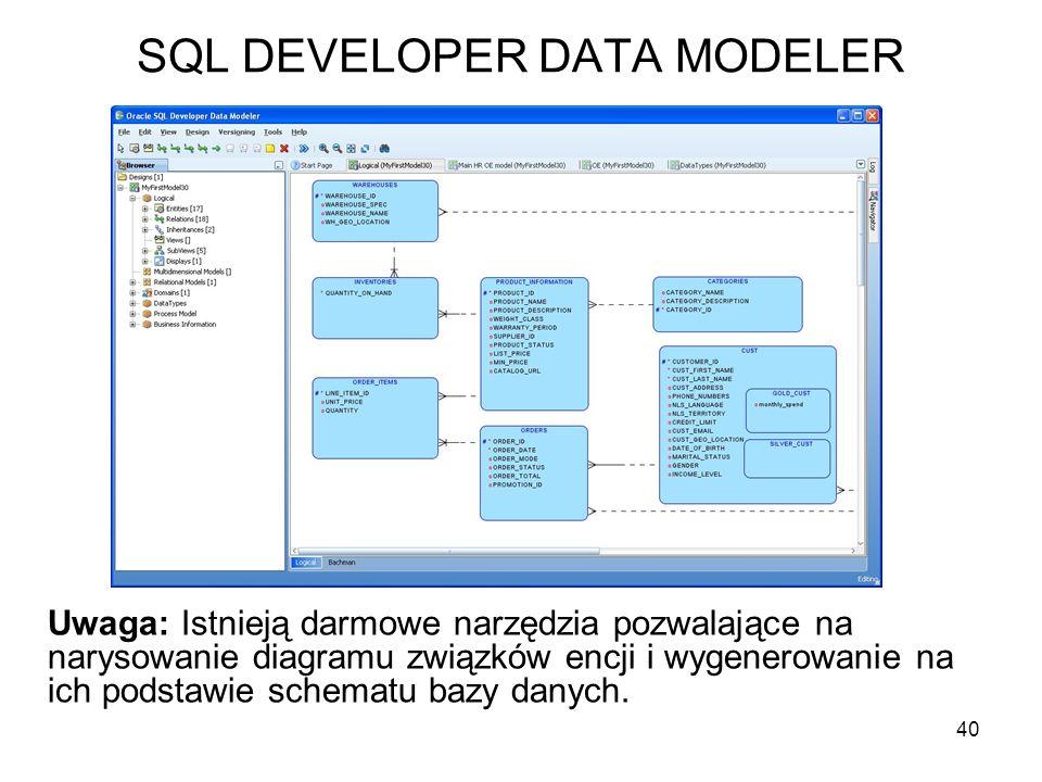 SQL DEVELOPER DATA MODELER 40 Uwaga: Istnieją darmowe narzędzia pozwalające na narysowanie diagramu związków encji i wygenerowanie na ich podstawie sc
