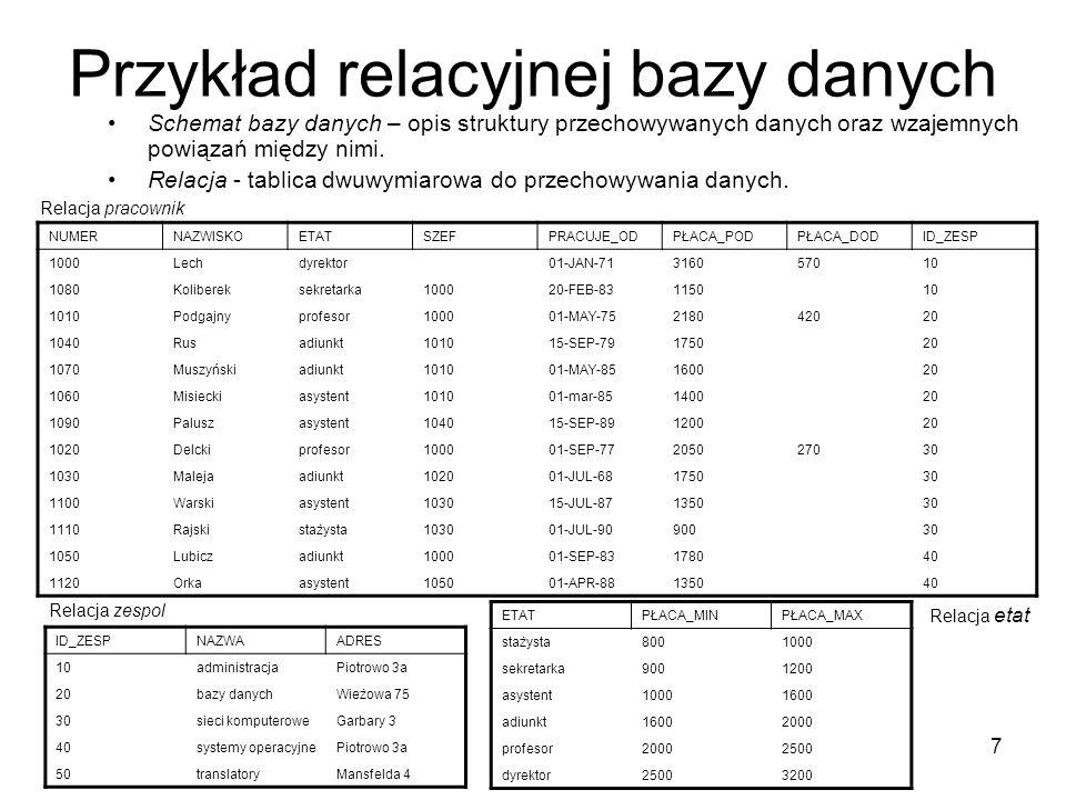 7 Przykład relacyjnej bazy danych Schemat bazy danych – opis struktury przechowywanych danych oraz wzajemnych powiązań między nimi. Relacja - tablica