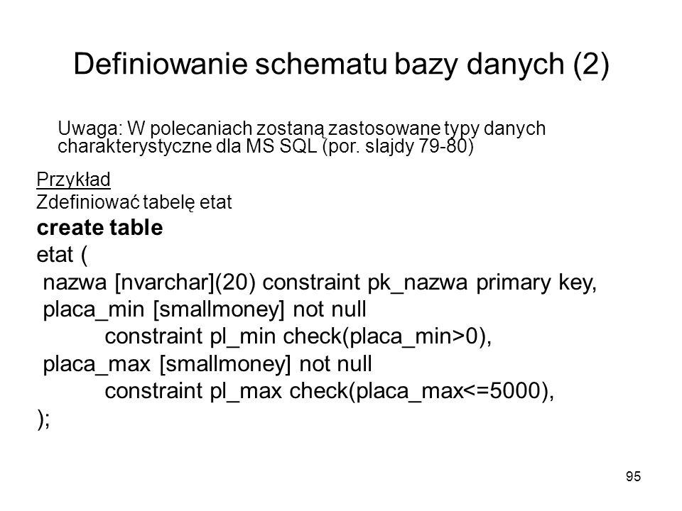 95 Definiowanie schematu bazy danych (2) Przykład Zdefiniować tabelę etat create table etat ( nazwa [nvarchar](20) constraint pk_nazwa primary key, pl