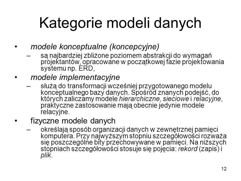 12 Kategorie modeli danych modele konceptualne (koncepcyjne) –są najbardziej zbliżone poziomem abstrakcji do wymagań projektantów, opracowane w początkowej fazie projektowania systemu np.