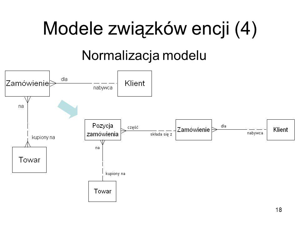 18 Modele związków encji (4) Normalizacja modelu