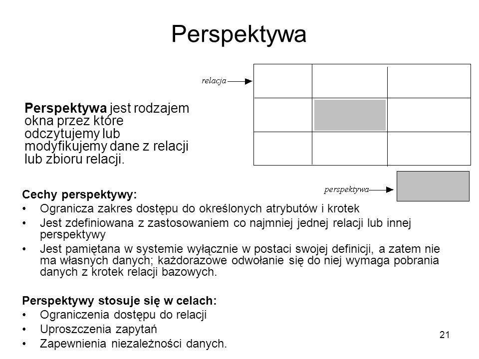 21 Perspektywa Perspektywa jest rodzajem okna przez które odczytujemy lub modyfikujemy dane z relacji lub zbioru relacji. Cechy perspektywy: Ogranicza