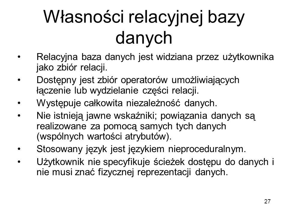 27 Własności relacyjnej bazy danych Relacyjna baza danych jest widziana przez użytkownika jako zbiór relacji. Dostępny jest zbiór operatorów umożliwia