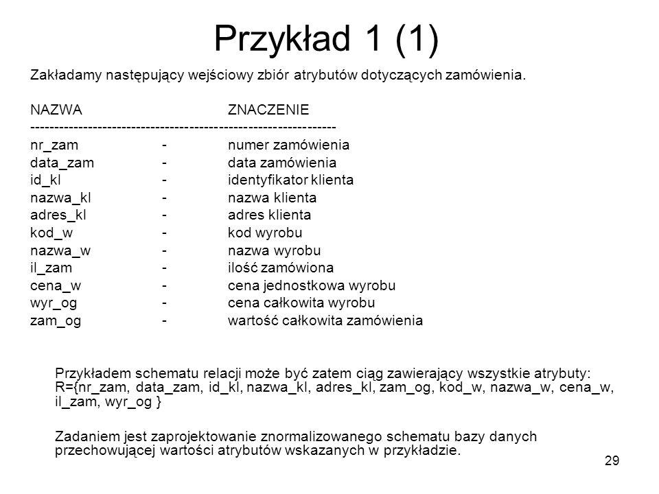 29 Przykład 1 (1) Zakładamy następujący wejściowy zbiór atrybutów dotyczących zamówienia. NAZWAZNACZENIE ---------------------------------------------