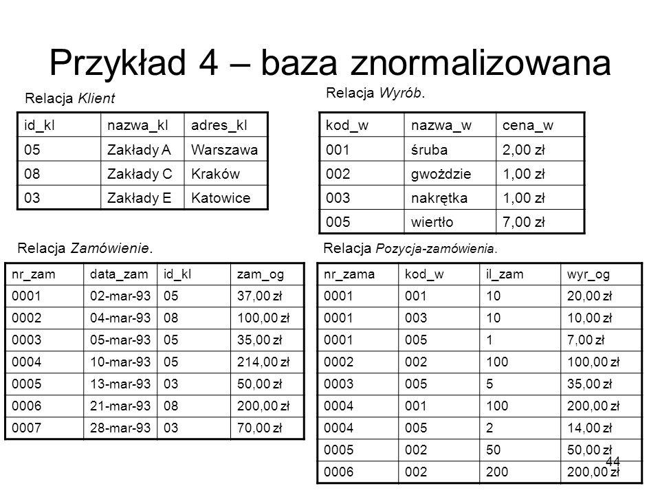 44 Przykład 4 – baza znormalizowana id_klnazwa_kladres_kl 05Zakłady AWarszawa 08Zakłady CKraków 03Zakłady EKatowice kod_wnazwa_wcena_w 001śruba2,00 zł