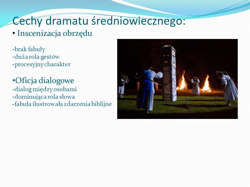 Cechy dramatu średniowiecznego: Inscenizacja obrzędu -brak fabuły -duża rola gestów -procesyjny charakter Oficja dialogowe -dialog między osobami -dom