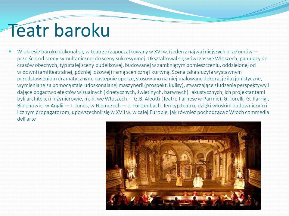 Teatr baroku W okresie baroku dokonał się w teatrze (zapoczątkowany w XVI w.) jeden z najważniejszych przełomów przejście od sceny symultanicznej do s