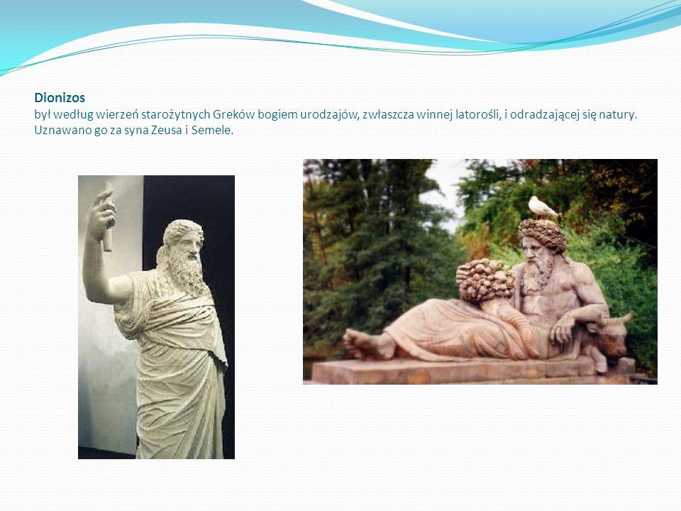 Dionizos był według wierzeń starożytnych Greków bogiem urodzajów, zwłaszcza winnej latorośli, i odradzającej się natury. Uznawano go za syna Zeusa i S