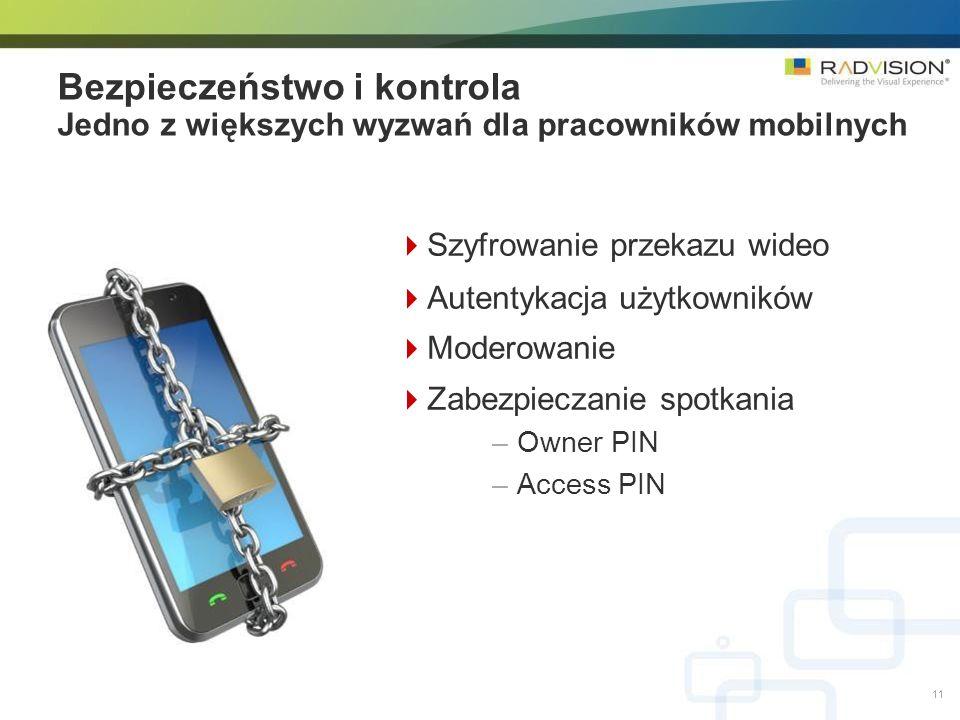 Szyfrowanie przekazu wideo Autentykacja użytkowników Moderowanie Zabezpieczanie spotkania –Owner PIN –Access PIN Bezpieczeństwo i kontrola Jedno z większych wyzwań dla pracowników mobilnych 11